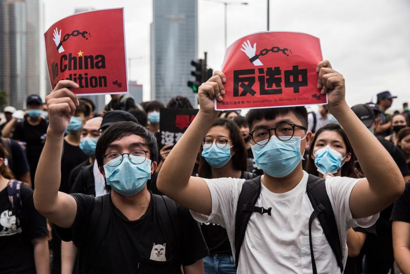 Protesters gather again to rally outside the Legislative Council government offices against a controversial extradition bill in Hong Kong on June 17, 2019. - Beijing reiterated its backing of Hong Kong's embattled leader Carrie Lam on June 17 after a massive demonstration demanding her resignation over a controversial extradition bill. (Photo by ISAAC LAWRENCE / AFP) (Photo credit should read ISAAC LAWRENCE/AFP/Getty Images)