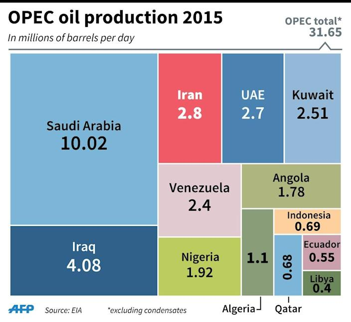 Oil production for Iran and other OPEC members in 2015. 90 x 82 mm (AFP Photo/Gillian HANDYSIDE)