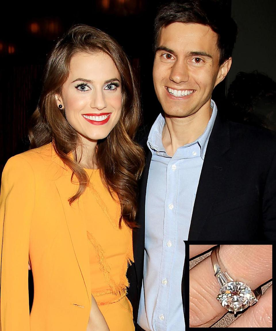 """<p>Ricky Van Veen proposed to actress Allison Williams in 2014 with a stunning cushion-cut <a rel=""""nofollow noopener"""" href=""""http://www.instyle.com/news/big-photo-big-rock-allison-williams-debuts-her-dazzling-engagement-ring"""" target=""""_blank"""" data-ylk=""""slk:ring"""" class=""""link rapid-noclick-resp"""">ring</a> that appears to be flanked by multiple diamonds on each side. The couple <a rel=""""nofollow noopener"""" href=""""http://www.instyle.com/news/allison-williams-wedding-photos"""" target=""""_blank"""" data-ylk=""""slk:wed"""" class=""""link rapid-noclick-resp"""">wed</a> in September 2015. </p>"""