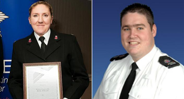 Molly Edwards, left, and Richard Paton ignored call-outs while engaging in sexual activity in their police car. (Surrey Police)