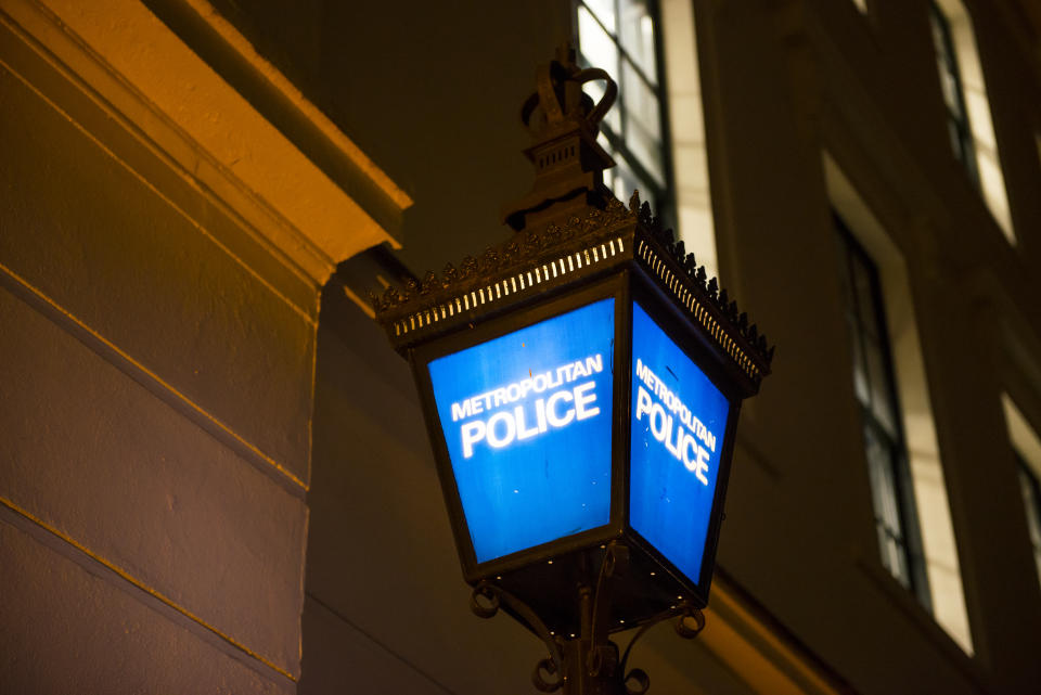 A traditional blue lamps are located on the outside most metropolitan police stations. They are the signage used for the public to identify the police station. The lamps This lamp is located on the outside of the Charing Cross police station building. London UK