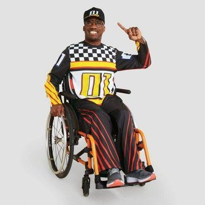 """<p><strong>Hyde & EEK! Boutique</strong></p><p>target.com</p><p><strong>$30.00</strong></p><p><a href=""""https://www.target.com/p/adult-adaptive-race-car-halloween-costume-jumpsuit-with-hat-hyde-eek-boutique/-/A-79786267"""" rel=""""nofollow noopener"""" target=""""_blank"""" data-ylk=""""slk:Shop Now"""" class=""""link rapid-noclick-resp"""">Shop Now</a></p><p>This race car costume, designed for those with sensory needs, is decked out with cool checkered and stripe decals.</p>"""