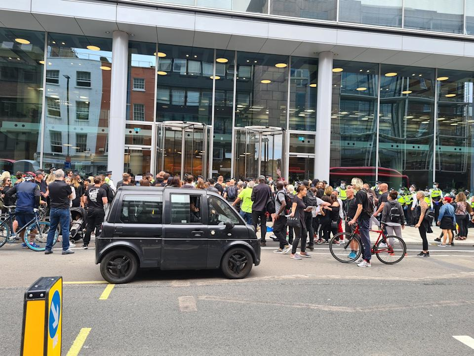 Crowds of protesters outside ITN's headquarters in Camden (Nico Hogg/PA) (Nico Hogg)