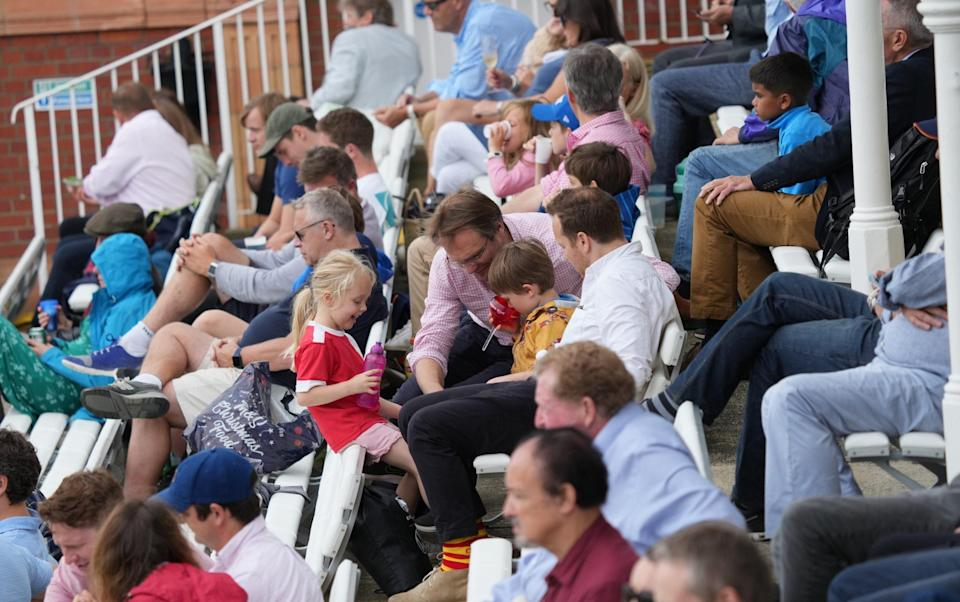 The scene in the Lords pavilion during The Hundred matches between London Spirit and Oval Invincibles.
