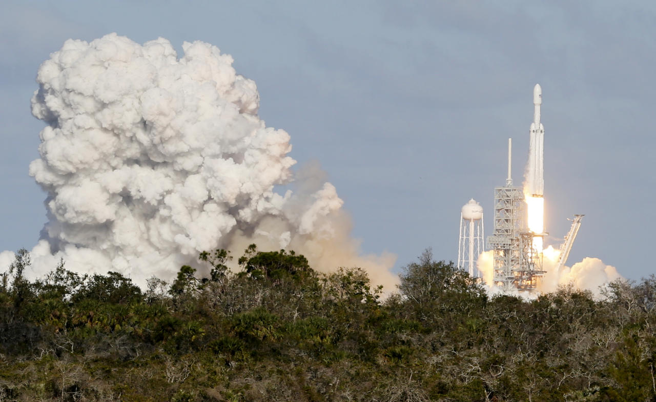 A SpaceX Falcon Heavy rocket lifts off from historic launch pad 39-A at the Kennedy Space Center in Cape Canaveral Fla. Feb. 6 2018