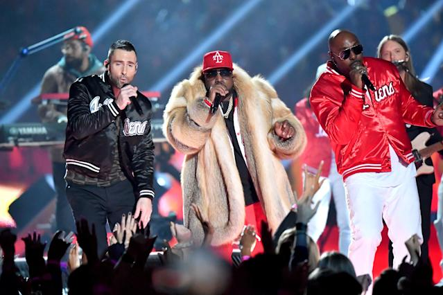 Adam Levine of Maroon 5, Big Boi and Sleepy Brown perform during the Pepsi Super Bowl LIII Halftime Show at Mercedes-Benz Stadium on February 3, 2019 in Atlanta, Georgia. (Photo by Jeff Kravitz/FilmMagic)