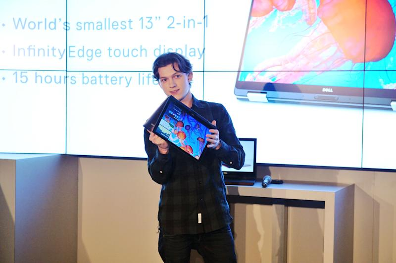 LAS VEGAS, NV - JANUARY 05: Tom Holland, star of the upcoming Spider-Man: Homecoming, introduces the new Dell Inspiron 15 Gaming laptop and XPS 2-in-1 at the CES 2017 #DellExperience. Dell products helped create magic both in front of and behind the camera for the upcoming July 2017 Sony Pictures film release. (Photo by Jerod Harris/Getty Images for Dell)