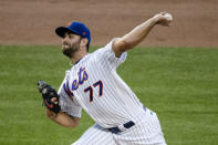 New York Mets' David Peterson delivers a pitch during the first inning of a baseball game against the Miami Marlins Saturday, Aug. 8, 2020, in New York. (AP Photo/Frank Franklin II)