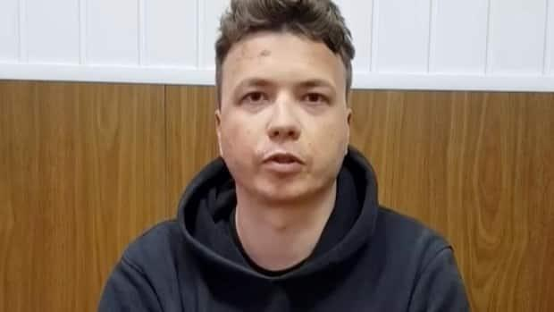 Belarusian opposition journalist Roman Protasevich, who was detained when the Ryanair plane he was travelling on was forced to land in Minsk on Sunday, is shown in a pre-trial detention facility on Monday, in this still image taken from video.