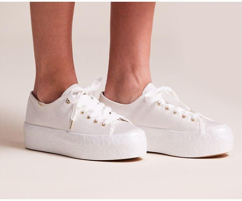 <p>The <span>Keds x Kate Spade New York Triple Up Faille Logo Foxing</span> ($115, originally $120) is the platform sneaker you'll reach for on days when you need extra comfort. They are not only designed with cushiony footbeds, but they are also topped off with tiny crystals around the top light-gold metal eyelet for an added dose of style.</p>