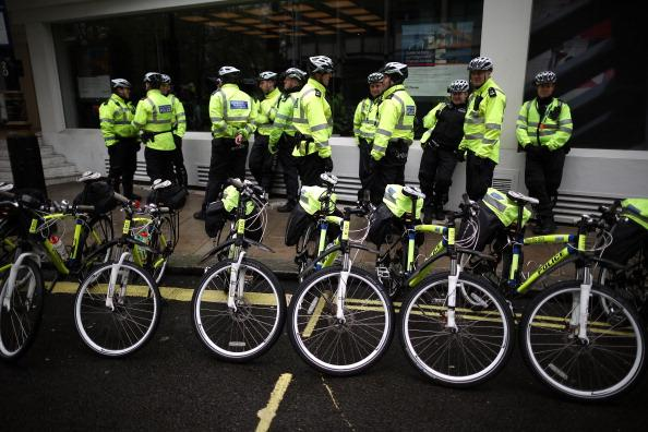 Police cyclists wait for the start of the Big Ride cycle campaign in Park Lane on April 28, 2012 in London, England. Campaigners particpated in the event to call for safer streets for cyclists. (Photo by Peter Macdiarmid/Getty Images)