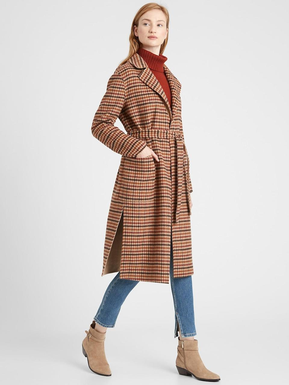 <p>Nothing says autumn quite like this <span>Reversible Double-Faced Wrap Coat</span> ($299).</p>