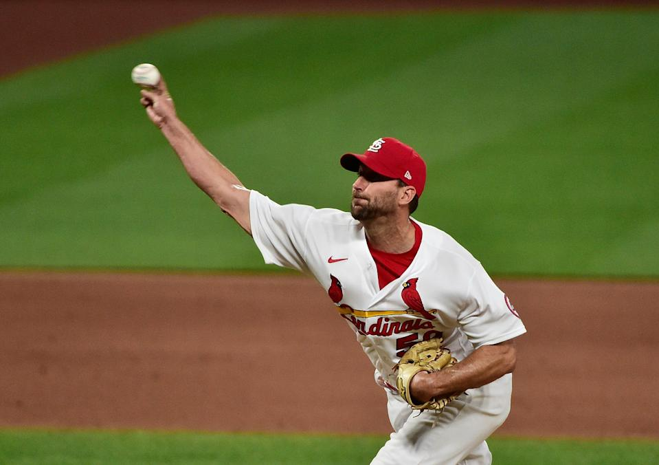 Wainwright pitches against the Mets on Monday.