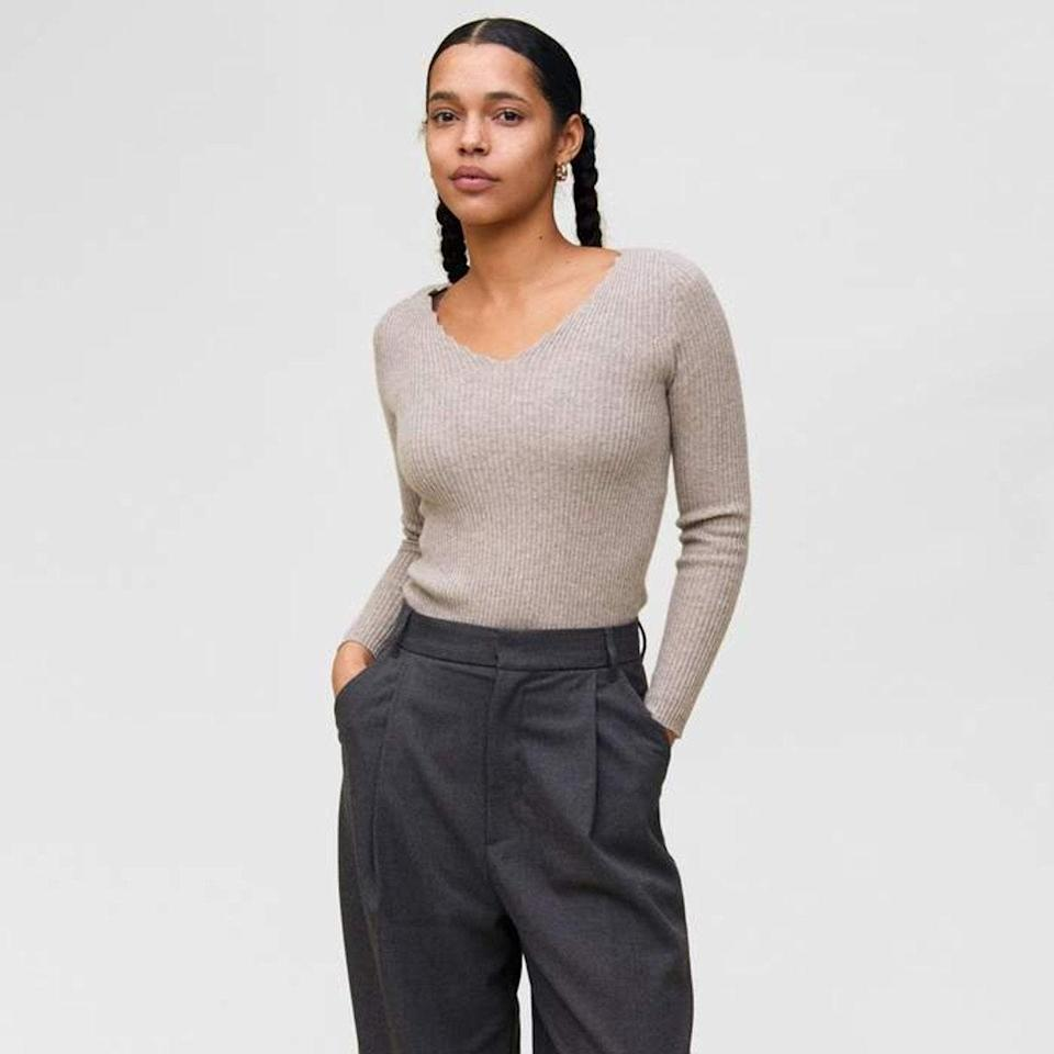 """The subtle scallop trim on this ribbed pullover sweater takes this to the next level. $130, State Cashmere. <a href=""""https://statecashmere.com/collections/womens-sweaters/products/wavy-ribbed-v-neck-cashmere-sweater#details"""" rel=""""nofollow noopener"""" target=""""_blank"""" data-ylk=""""slk:Get it now!"""" class=""""link rapid-noclick-resp"""">Get it now!</a>"""