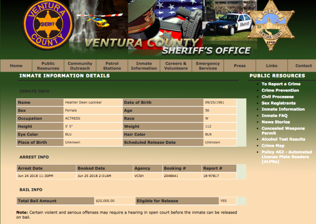 The information on Locklear's latest arrest. (Image: Ventura County Sheriff's Office)