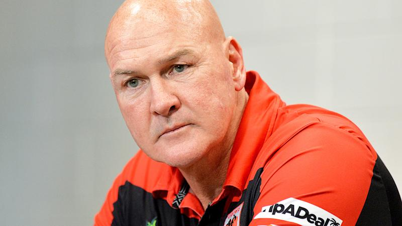 Paul McGregor, pictured here speaking to the media following a Dragons game.
