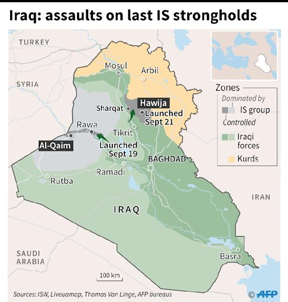 Map locating Iraqi security forces operations against the Islamic State (IS) group's last bastions in the country. (AFP Photo/Thomas SAINT-CRICQ, Kun TIAN)