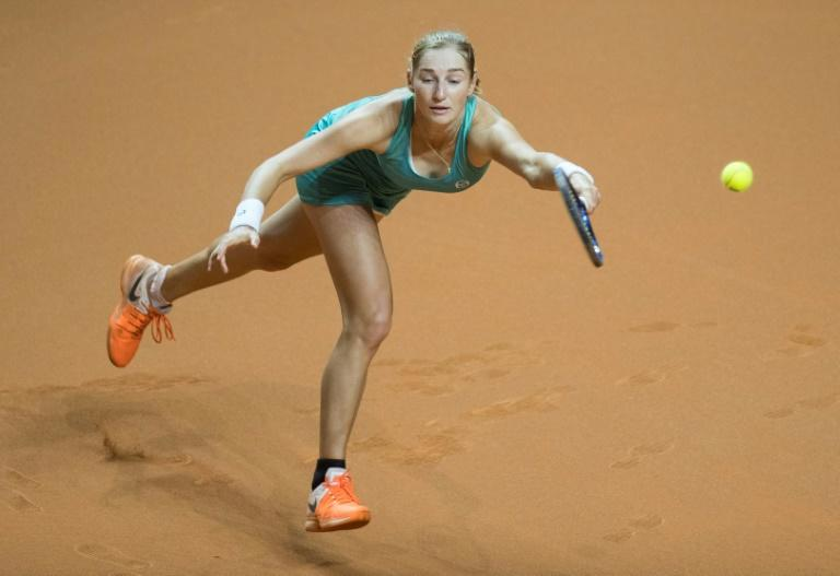 Russia's Ekaterina Makarova returns to Russia's Maria Sharapova in their second round match at the WTA Tennis Grand Prix in Stuttgart, southwestern Germany, on April 27, 2017