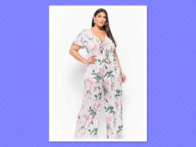 "<p>Plus Size Floral Striped Wide-Leg Jumpsuit, $58, <a href=""https://www.forever21.com/us/shop/catalog/product/plus/plus_size-rompers-jumpsuits/2000284143"" rel=""nofollow noopener"" target=""_blank"" data-ylk=""slk:forever21.com"" class=""link rapid-noclick-resp"">forever21.com </a> </p>"