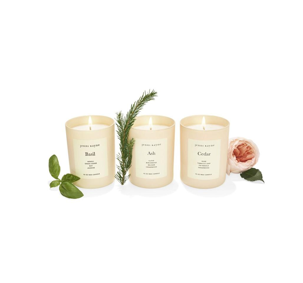 """<p>If you can't visit an ash or cedar forest or a lush patch of basil, bring those intoxicating scents inside in the form of posh hand-poured candles. Warning: May cause guests to linger deep into the night.</p><p><em>$55 each at <a href=""""https://www.jennikayne.com/"""" target=""""_blank"""">jennikayne.com</a></em></p><p>OR:</p><p><a class=""""body-btn-link"""" href=""""https://www.amazon.com/Jenni-Kayne-Cedar-Glass-Candle/dp/B07YGYJX5T?tag=syn-yahoo-20&ascsubtag=%5Bartid%7C10072.g.29700361%5Bsrc%7Cyahoo-us"""" target=""""_blank"""">Shop Amazon</a></p>"""