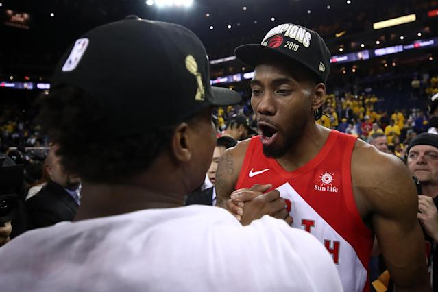 Kawhi Leonard #2 of the Toronto Raptors celebrates his teams win victory over the Golden State Warriors in Game Six to win the 2019 NBA Finals at ORACLE Arena on June 13, 2019 in Oakland, California. (Photo by Ezra Shaw/Getty Images)