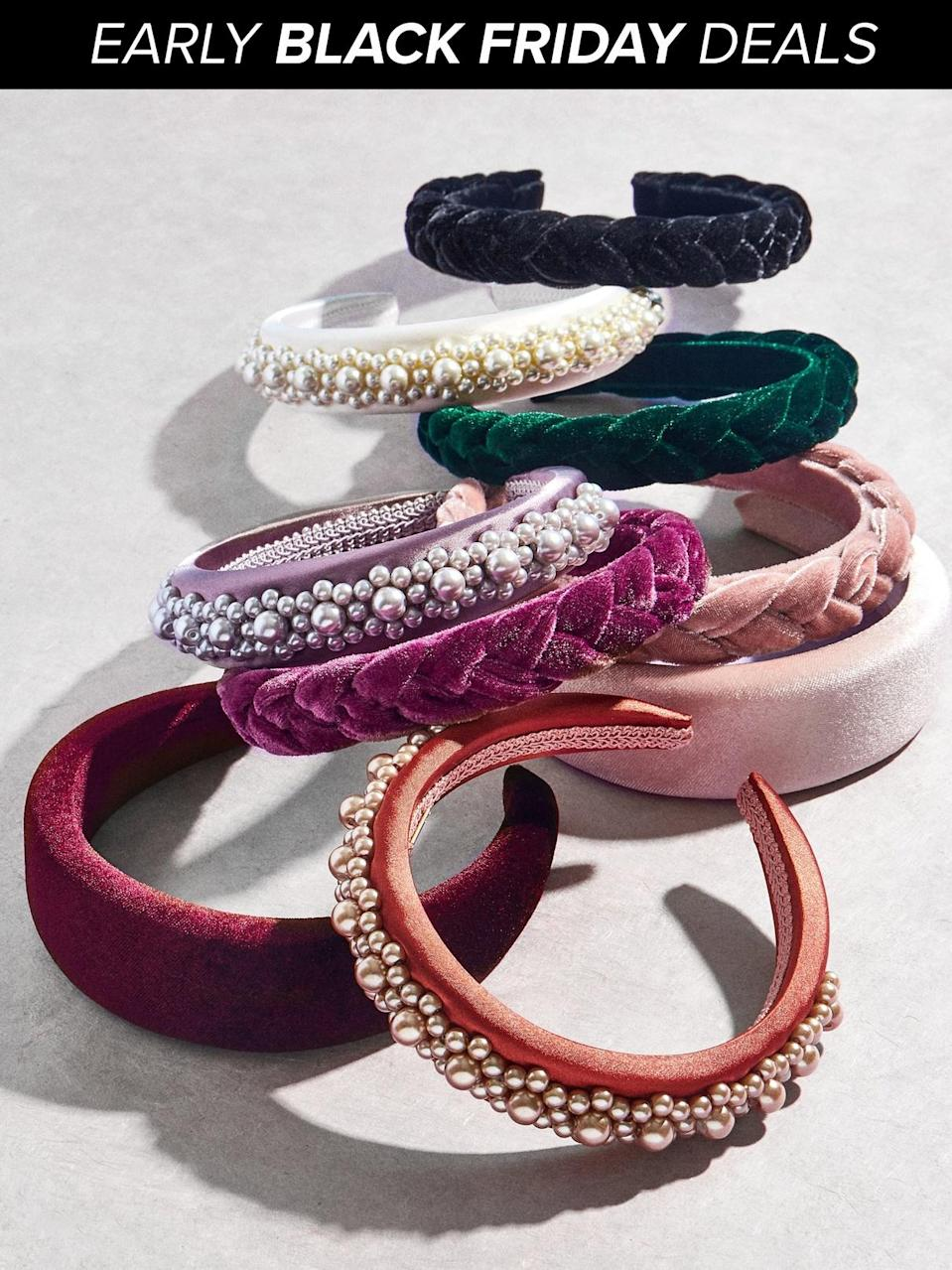 """<p><strong>BaubleBar</strong></p><p>baublebar.com</p><p><strong>$20.00</strong></p><p><a href=""""https://go.redirectingat.com?id=74968X1596630&url=https%3A%2F%2Fwww.baublebar.com%2Fproduct%2F50229-pick-2-headbands&sref=http%3A%2F%2Fwww.goodhousekeeping.com%2Fholidays%2Fgift-ideas%2Fg153%2Fgifts-under-20-dollars%2F"""" rel=""""nofollow noopener"""" target=""""_blank"""" data-ylk=""""slk:Shop Now"""" class=""""link rapid-noclick-resp"""">Shop Now</a></p><p>Complete her holiday outfit (New Years Eve, too!) with a pair of velvet, pearl, or beaded headbands. Mix and match between any of the selected Baublebar styles and colors until you find a look that she'll love. </p><p><strong>RELATED:</strong> <a href=""""https://www.goodhousekeeping.com/holidays/gift-ideas/g1405/gifts-for-her/"""" rel=""""nofollow noopener"""" target=""""_blank"""" data-ylk=""""slk:The Best Gifts for Her"""" class=""""link rapid-noclick-resp"""">The Best Gifts for Her </a></p>"""