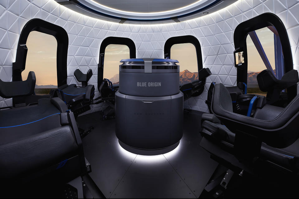 This undated photo made available by Blue Origin shows the interior of the crew capsule. When Blue Origin launches people into space for the first time, Bezos will be on board. No test pilots or flight engineers for the Tuesday, July 20, 2021 debut flight from West Texas - just Bezos, his brother, an 82-year-old aviation pioneer and a teenager. (Michael Craft/Blue Origin via AP)