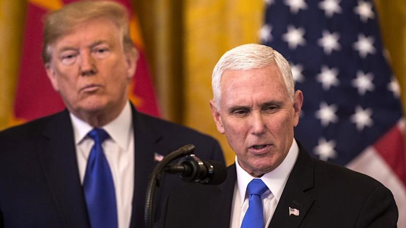 U.S. Vice President Mike Pence speaks during a signing ceremony with President Donald Trump in Washington, D.C., U.S., on Wednesday, Jan. 15, 2020. (Zach Gibson/Bloomberg via Getty Images)