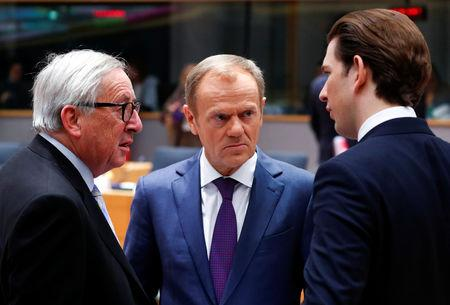 FILE PHOTO: European Commission President Jean-Claude Juncker, European Council President Donald Tusk and Austrian Chancellor Sebastian Kurz talk before a European Union leaders summit in Brussels, Belgium December 14, 2018. REUTERS/Francois Lenoir/Pool/File Photo