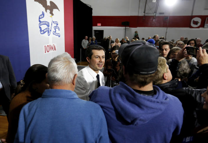 Democratic presidential candidate South Bend, Ind. Mayor Pete Buttigieg speaks to supporters during a campaign stop at Maquoketa Middle School in Maquoketa, Iowa, Monday, Dec. 30, 2019. (Eileen Meslar/Telegraph Herald via AP)