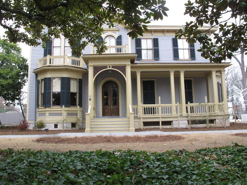 Former President Woodrow Wilson's boyhood home in seen on Monday, Feb. 10, 2014, in Columbia, S.C. Historic Columbia helped renovate the home where Wilson lived when he was a teen and it is opening to the public as a museum.(AP Photo/Jeffrey Collins)