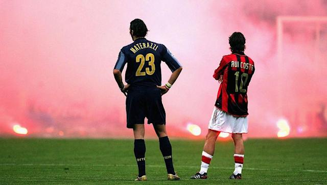 <p>Another famous Milan 'away' win, although this time crowd trouble took the centre of attention.</p> <br><p>The Rossoneri led 1-0 from the first leg in what was the last time the rivals met in the Champions League. Shevchenko again proved the scourge of Inter as he doubled their aggregate lead in the first half, before a disallowed Esteban Cambiasso goal instigated anger in the crowd. Milan keeper Dida was struck by a flare, and the game was abandoned, the visitors awarded a 3-0 win.</p> <br><p>Milan would go on to reach the final and lost to Liverpool in Istanbul having led 3-0 at half-time.</p>