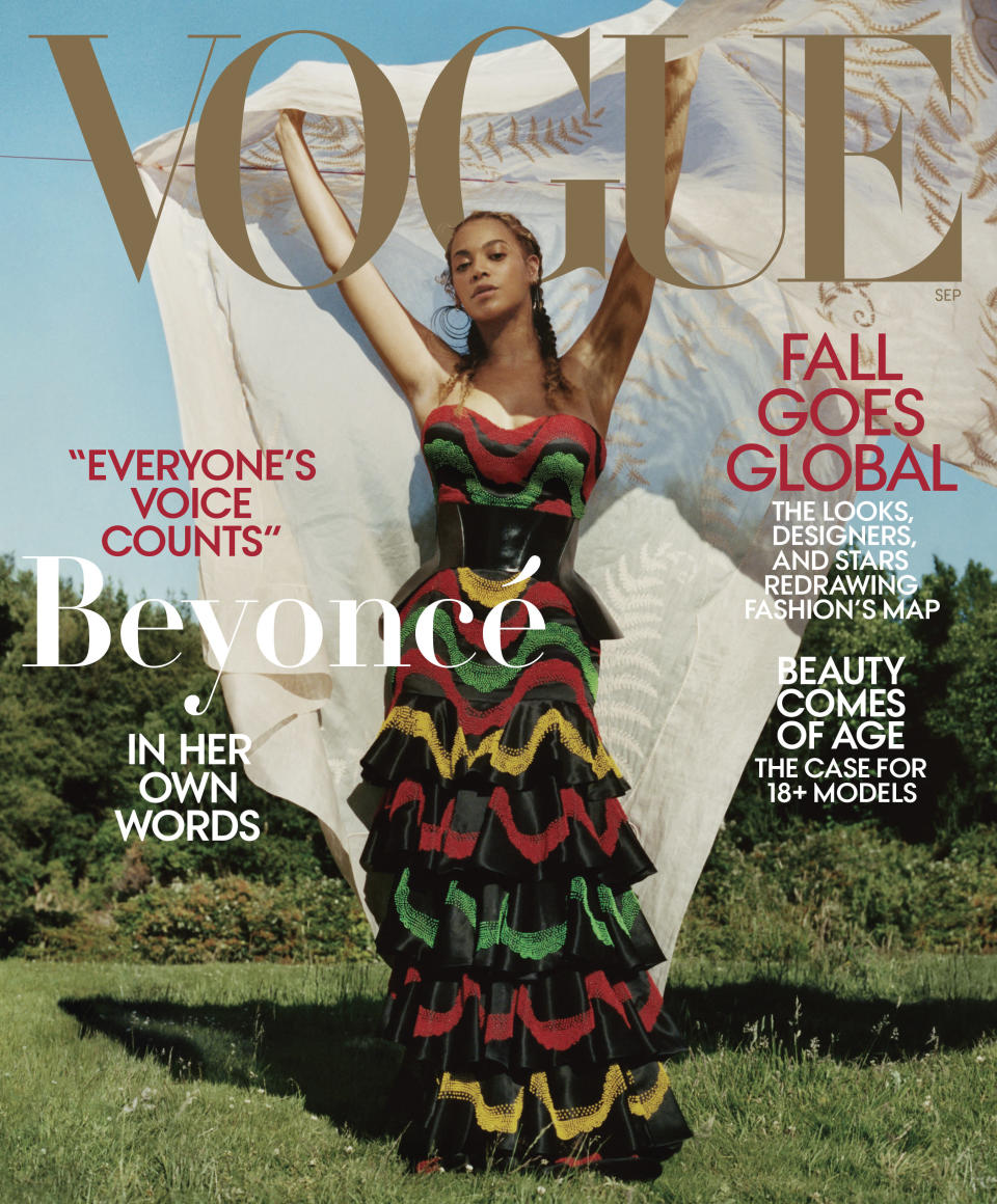 <em>Vogue</em> has two different covers of Beyoncé for its September issue. (Photo: Tyler Mitchell/Vogue)