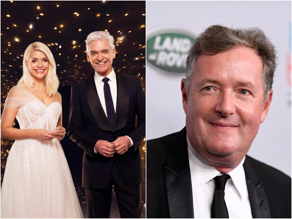 Holly Willoughby and Phillip Schofield on Dancing on Ice, and Piers Morgan (ITV/Getty)