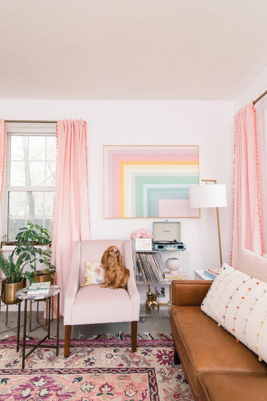 "<p>Looking as if it's jumped right out of the 1970s, this incredibly cheerful rainbow wall art is guaranteed to make you smile. All it requires is a canvas, some painter's tape, and a kaleidoscope of paint colors.</p><p><strong>Get the tutorial at <a href=""https://athomewithashley.com/diy-color-block-rainbow-wall-art/"" rel=""nofollow noopener"" target=""_blank"" data-ylk=""slk:At Home with Ashley"" class=""link rapid-noclick-resp"">At Home with Ashley</a>.</strong></p><p><a class=""link rapid-noclick-resp"" href=""https://www.amazon.com/Wooster-Brush-Q3211-2-Shortcut-Paintbrush/dp/B002YC06T2/?tag=syn-yahoo-20&ascsubtag=%5Bartid%7C10050.g.31153820%5Bsrc%7Cyahoo-us"" rel=""nofollow noopener"" target=""_blank"" data-ylk=""slk:SHOP PAINTBRUSHES"">SHOP PAINTBRUSHES</a></p>"