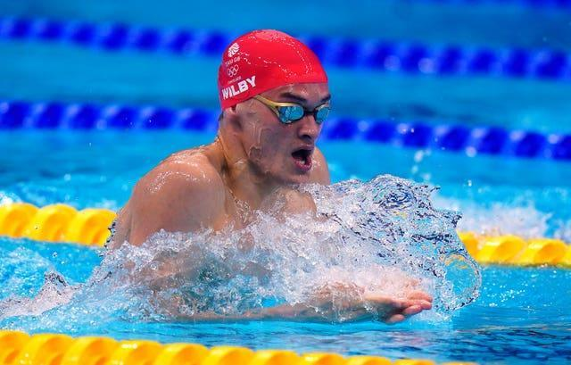 James Wilby made a promising start to the men's 200m breaststroke but faded later on (Adam Davy/PA)
