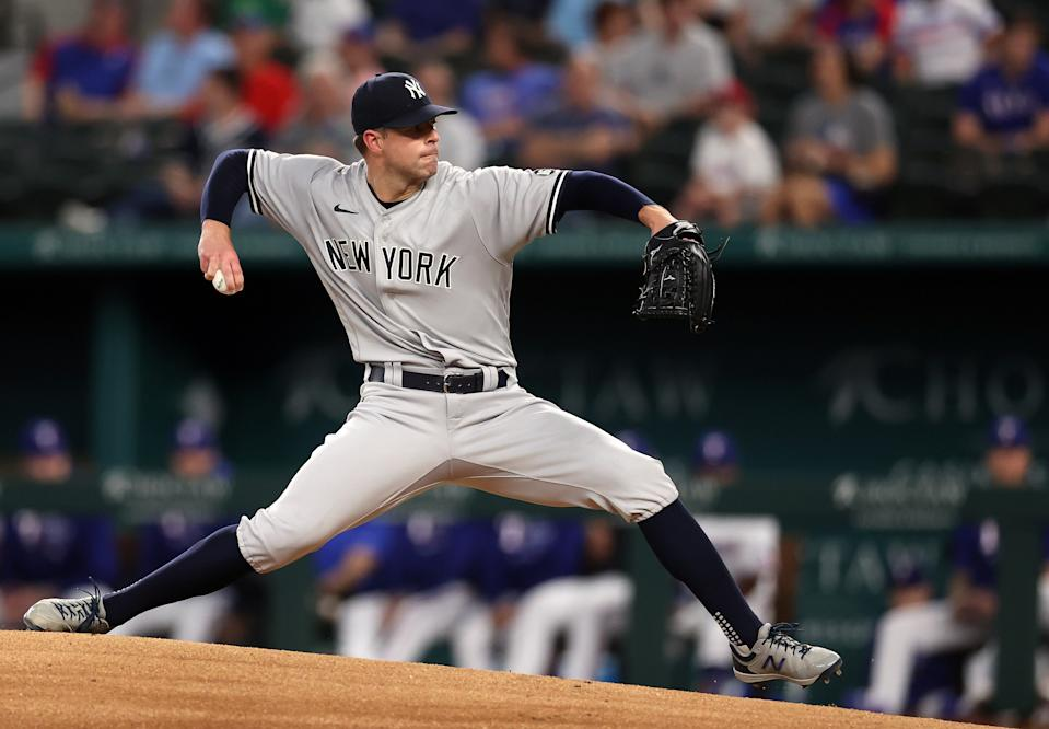 Corey Kluber of the New York Yankees threw a no-hitter in his last start. (Photo by Ronald Martinez/Getty Images)