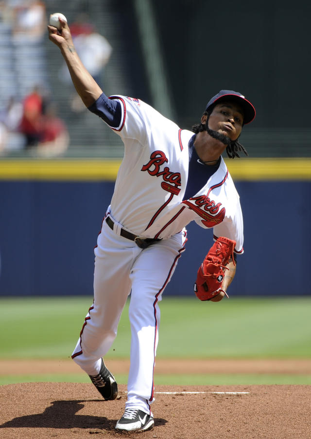 Atlanta Braves starting pitcher Ervin Santana delivers to the San Diego Padres during the first inning of a baseball game Monday, July 28, 2014, in Atlanta. (AP Photo/David Tulis)