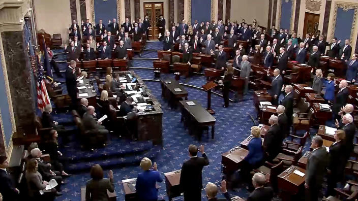 Members of the Senate are sworn in by Chief Justice John Roberts ahead of the impeachment trial of President Trump. (Screengrab via Yahoo News Video)