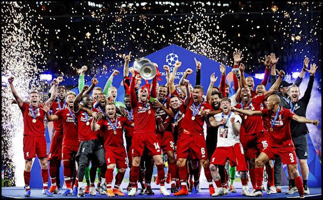 Liverpool celebrating their 2018/19 Champions League triumph (Photo by VI Images via Getty Images)