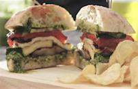"""<p><a href=""""https://www.thedailymeal.com/entertain/ultimate-bbq-vegetarians-slideshow?referrer=yahoo&category=beauty_food&include_utm=1&utm_medium=referral&utm_source=yahoo&utm_campaign=feed"""" rel=""""nofollow noopener"""" target=""""_blank"""" data-ylk=""""slk:Good vegetarian grilling"""" class=""""link rapid-noclick-resp"""">Good vegetarian grilling</a> can be hard to come by, but this grilled halloumi and veggie sandwich will fix that issue. Halloumi has a higher melting point than other cheeses and its slightly spongy texture is elevated when placed on the grill for a few minutes. Top it with mushrooms and bell peppers to tie the whole sandwich together.</p> <p><a href=""""https://www.thedailymeal.com/best-recipes/grilled-halloumi-veggie-sandwich?referrer=yahoo&category=beauty_food&include_utm=1&utm_medium=referral&utm_source=yahoo&utm_campaign=feed"""" rel=""""nofollow noopener"""" target=""""_blank"""" data-ylk=""""slk:For the Grilled Halloumi and Veggie Sandwiches recipe, click here."""" class=""""link rapid-noclick-resp"""">For the Grilled Halloumi and Veggie Sandwiches recipe, click here.</a></p>"""