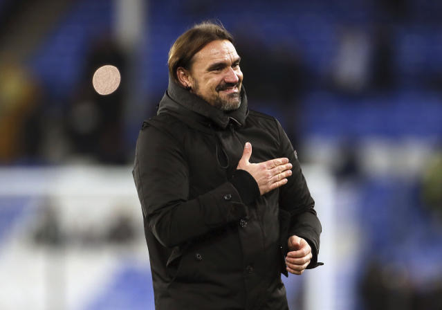 Norwich City manager Daniel Farke celebrates their win after the final whistle during the English Premier League soccer match between Norwich City and Everton, at Goodison Park, Liverpool, England, Saturday, Nov. 23, 2019. (Richard Sellers/PA via AP)