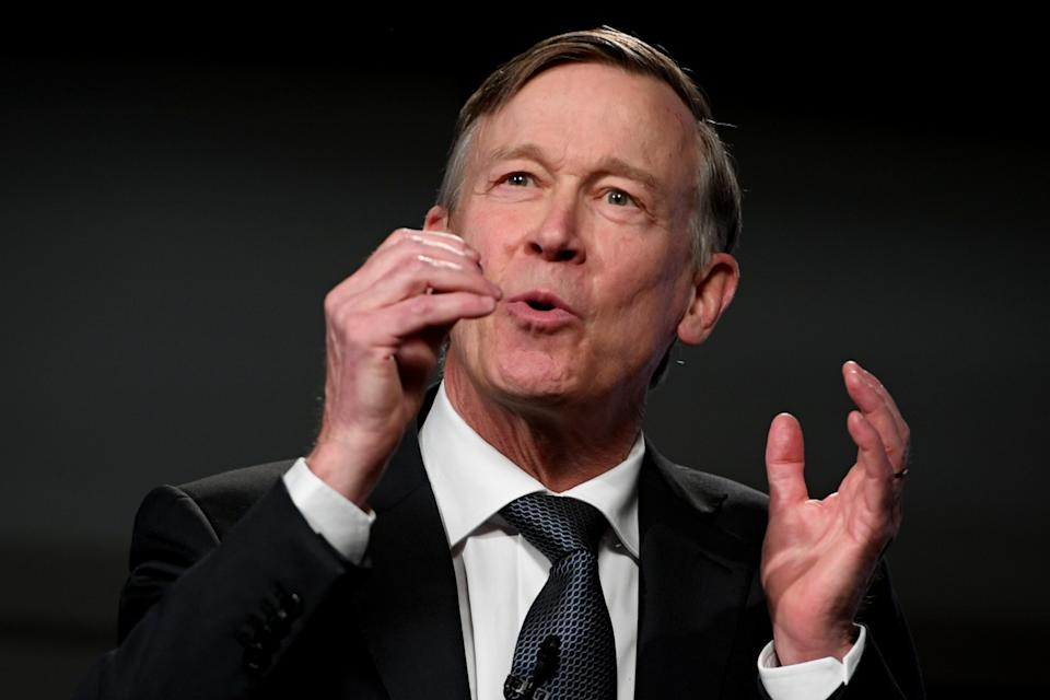 The first live televised U.S. Senate debate Democratic former Colorado Gov. John Hickenlooper against Republican U.S. Sen. Cory Gardner took place at Denver7 studio in Denver, Colorado on Friday. October 9, 2020. (Hyoung Chang/The Denver Post via Getty Images)