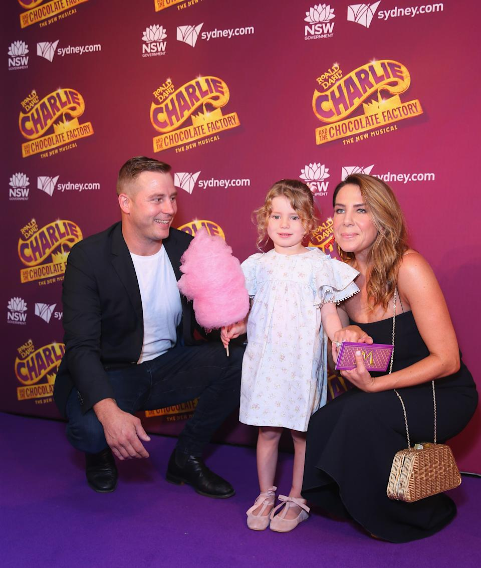 Stuart Webb, Kate Ritchie and daughter Mae Webb