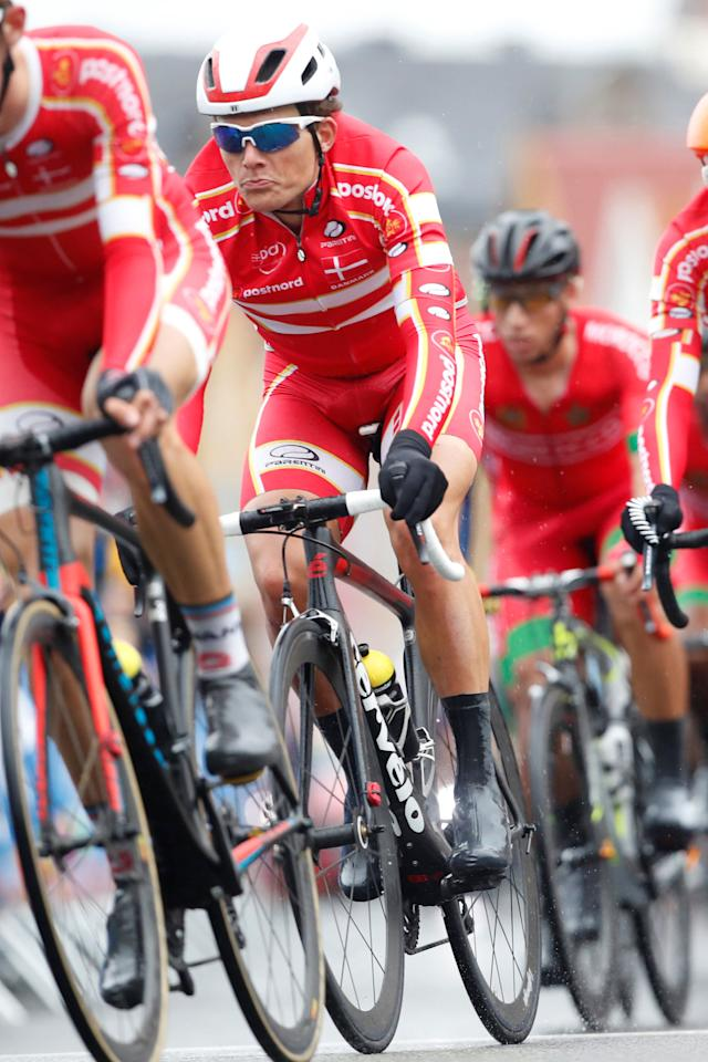 Michael Carbel Svendgaard of Denmark competes in UCI Cycling Road World Championships Men Under 23 in Bergen, Norway September 22, 2017. NTB scanpix/Cornelius Poppe/via REUTERS  ATTENTION EDITORS - THIS IMAGE WAS PROVIDED BY A THIRD PARTY. NORWAY OUT. NO COMMERCIAL OR EDITORIAL SALES IN NORWAY.