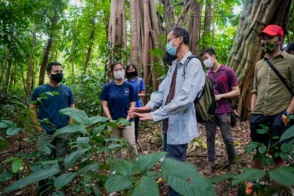 National Development Minister Desmond Lee (left) visits Dover Forest with members of the nature community in Singapore. (PHOTO: Facebook/Desmond Lee)