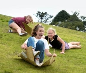 Jemima Reid, left, Kaela Andrijich and Geneveve Reid enjoy the open space in the park at the end of Royal Street in East Perth. Picture: Ian Munro/The West Australian