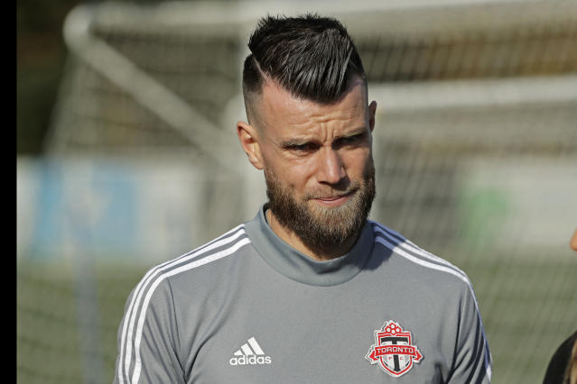 Toronto FC goalkeeper Quentin Westberg walks on the pitch during a training session, Friday, Nov. 8, 2019, in Tukwila, Wash. Toronto FC will face the Seattle Sounders Sunday in the MLS Cup soccer match at CenturyLink Field in Seattle, the third time the two teams will have met for the MLS championship. (AP Photo/Ted S. Warren)