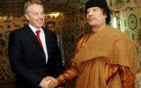 Tony Blair meets Libyan leader Colonel Muammar Gaddafi at his desert base outside Sirte south of Tripoli in 2007.  - PA