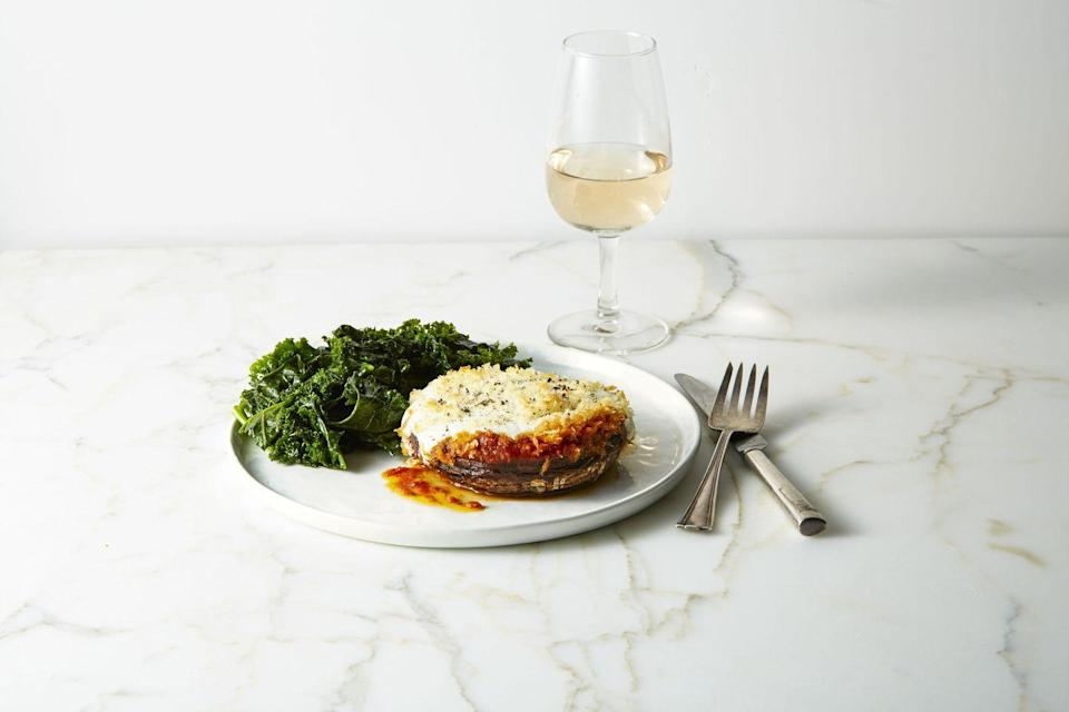 """<p>Stuff meaty mushrooms with marinara, mozzarella, and breadcrumbs for an easy <a href=""""https://www.goodhousekeeping.com/food-recipes/g30879872/dinner-ideas-for-two/"""" rel=""""nofollow noopener"""" target=""""_blank"""" data-ylk=""""slk:dinner idea for two"""" class=""""link rapid-noclick-resp"""">dinner idea for two</a>.</p><p><a href=""""https://www.goodhousekeeping.com/food-recipes/easy/a42179/portobello-parmesan-recipe/"""" rel=""""nofollow noopener"""" target=""""_blank"""" data-ylk=""""slk:Get the recipe for Portobello Parmesan »"""" class=""""link rapid-noclick-resp""""><em>Get the recipe for Portobello Parmesan »</em></a> </p>"""